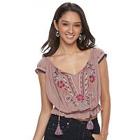 Juniors' Rewind Floral Embroidered Crop Top