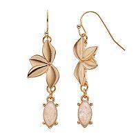 LC Lauren Conrad Crackle Marquise Leaf Nickel Free Drop Earrings