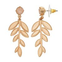 LC Lauren Conrad Crackle Stone Leaf Nickel Free Drop Earrings