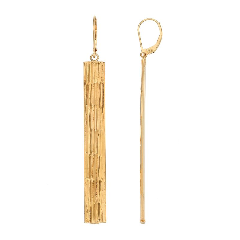 AMORE by SIMONE I. SMITH Sterling Silver Textured Stick Drop Earrings. Women's. Gold