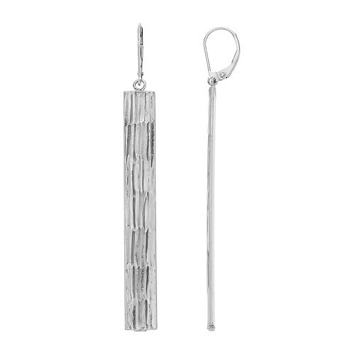 AMORE by SIMONE I. SMITH Sterling Silver Textured Stick Drop Earrings