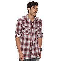 Big & Tall Rock & Republic Plaid Roll-Tab Flannel Button-Down Shirt