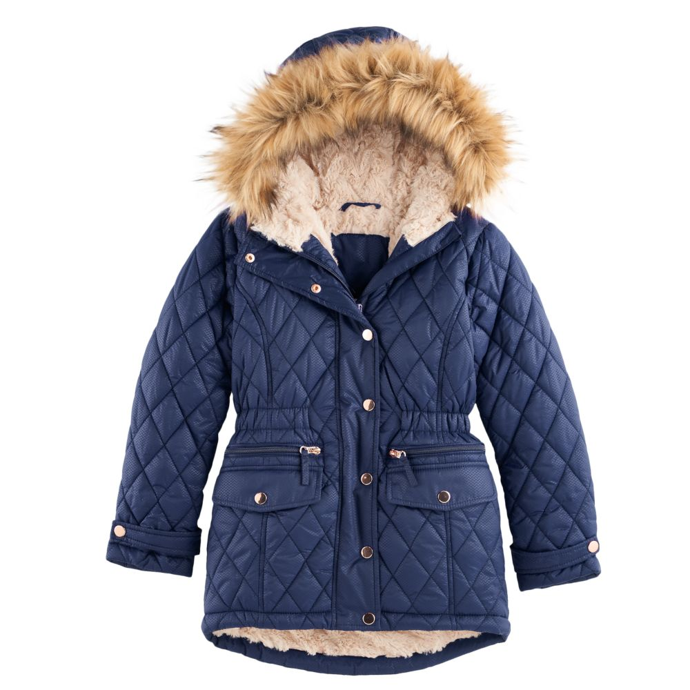 4-16 SO® Quilted Faux-Fur Lined Parka Jacket