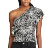 Women's Chaps Animal Print Ruffled One-Shoulder Top