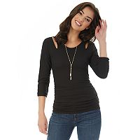 Juniors' IZ Byer California Cutout-Shoulder Ruched Top
