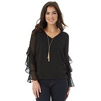 Juniors' IZ Byer California Necklace Ruffle Sleeve Top