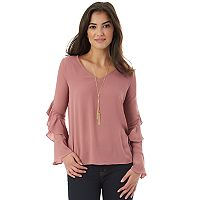 Juniors' IZ Byer Necklace Ruffle Sleeve Top