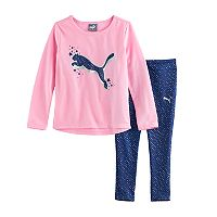 Girls 4-6x PUMA Foil Graphic Tee & Print Leggings Set