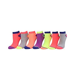 Girls 4-16 SO® 7 pkNeon No-Show Socks