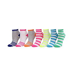 Girls 4-16 SO® 7-pk. Neon Stripe Quarter Socks