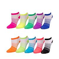 Girls 4-16 SO® 10 pkGradient Dots Low Cut Socks