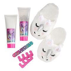 Girls 4-16 Unicorn Slipper, Foot Spa Set