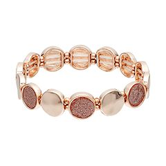 Glittery Circle Station Stretch Bracelet