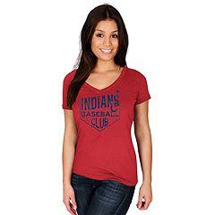Women's Majestic Cleveland Indians Baseball Club Tee