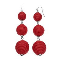 Thread Wrapped Graduated Ball Nickel Free Drop Earrings