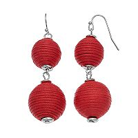Striped Thread Wrapped Ball Nickel Free Drop Earrings