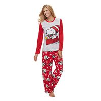 Women's Jammies For Your Families Peanuts Snoopy & Woodstock Sledding Top & Microfleece Bottoms Pajama Set