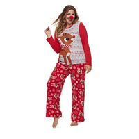 Women's Plus Jammies For Your Families Rudolph The Red Nosed Reindeer Top & Microfleece Bottoms Pajama Set