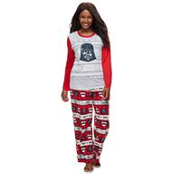 Women's Plus Jammies For Your Families Star Wars Darth Vader & Stormtrooper Fairisle Top & Microfleece Bottoms Pajama Set