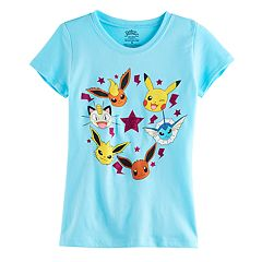 Girls 7-16 Pokemon Pikachu, Eevee, Meowth, Vaporeon, Jolteon & Flareon Graphic Tee
