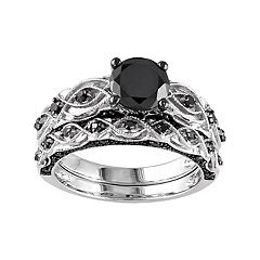 10k White Gold 1 3/8 Carat T.W. Black Diamond Swirl Engagement Ring Set