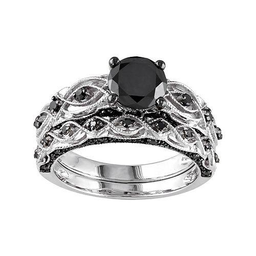 Stella Grace 10k White Gold 1 3/8 Carat T.W. Black Diamond Swirl Engagement Ring Set