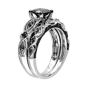 Stella Grace 10k White Gold 1 3/8 Carat T.W. Black Diamond Swirl Engagement Ring Set