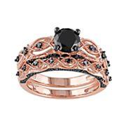 10k Rose Gold 1 3/8 Carat T.W. Black Diamond Swirl Engagement Ring Set