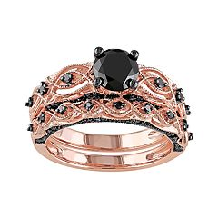 Stella Grace 10k Rose Gold 1 3/8 Carat T.W. Black Diamond Swirl Engagement Ring Set