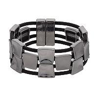 Square Link Faux Suede Magnetic Single Clasp Bracelet