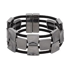 Square Link Faux Suede Magnetic Single Clasp Bracelet