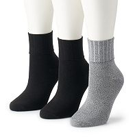 Women's SONOMA Goods for Life™ 3-pk. Turn Cuff Ribbed Crew Socks