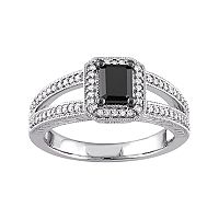10k White Gold 7/8 Carat T.W. Black & White Diamond Engagement Ring