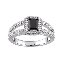 Stella Grace 10k White Gold 7/8 Carat T.W. Black & White Diamond Engagement Ring