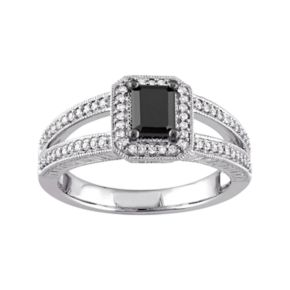 Stella Grace 10k White Gold 7/8 Carat T.W. Black & White Diamond Engagement Ring