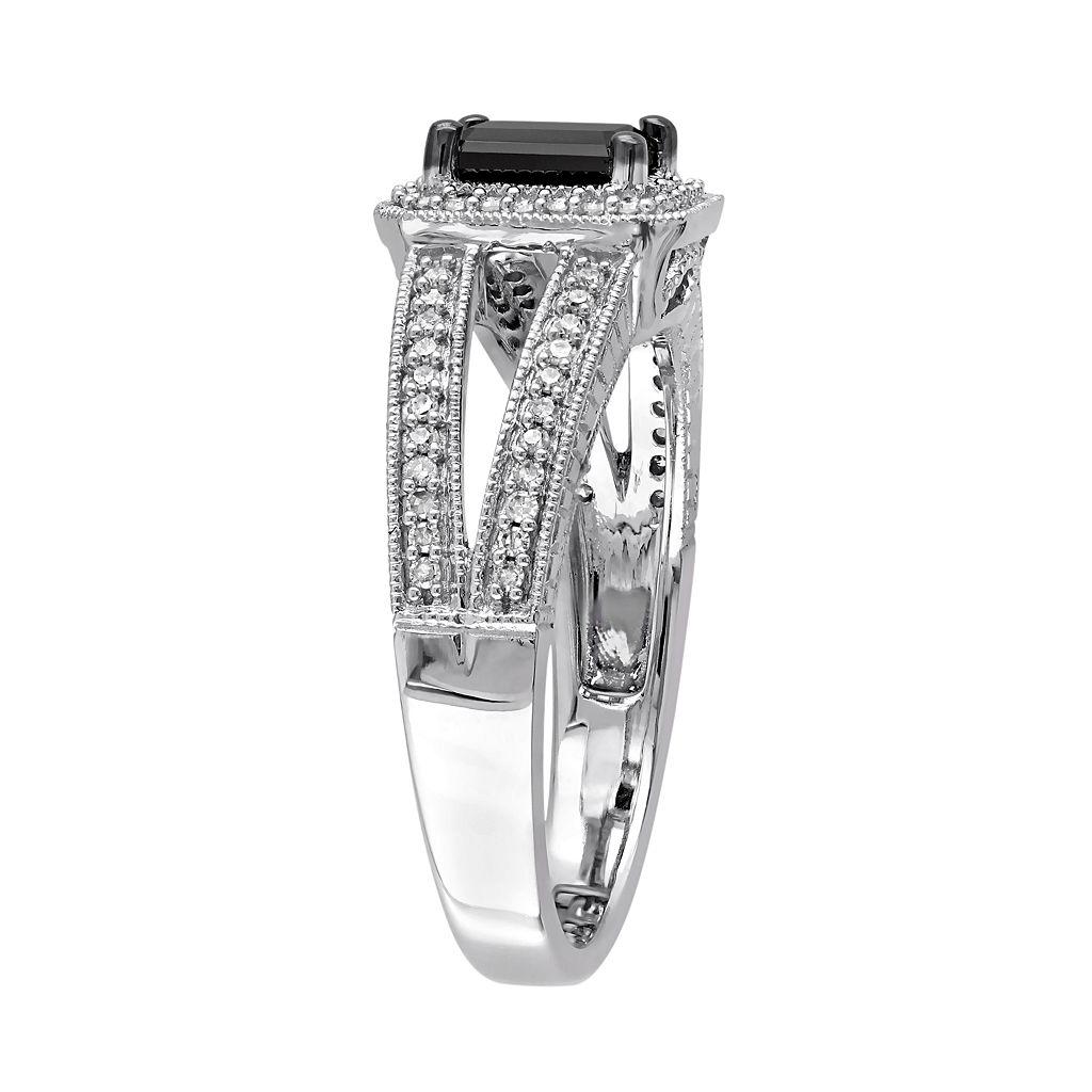 10k White Gold 7/8 Carat T.W. Black & White Diamond Engagement Ring