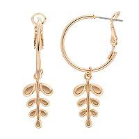 LC Lauren Conrad Crackle Stone Leaf Nickel Free Drop Earrings