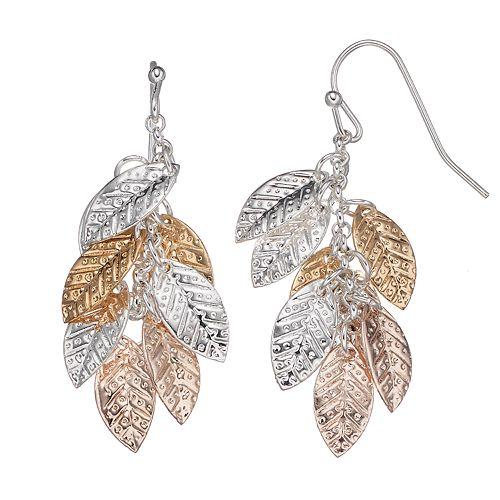 LC Lauren Conrad Tri Tone Leaf Cluster Nickel Free Drop Earrings
