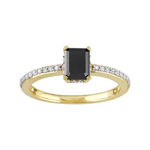 10k Gold 1 1/5 Carat T.W. Black & White Diamond Engagement Ring