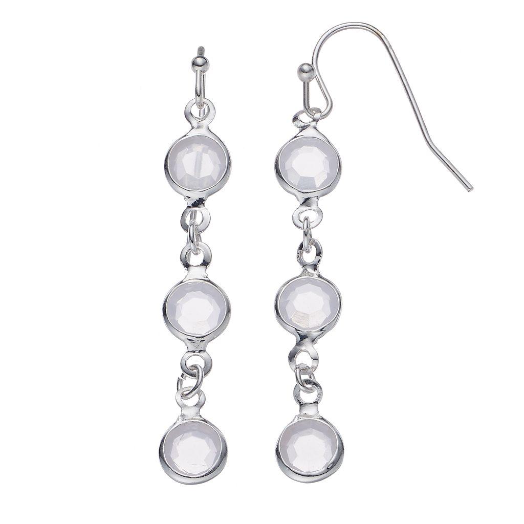 LC Lauren Conrad Round Stone Nickel Free Linear Earrings