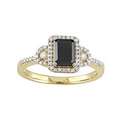 10k Gold 1 1/5 Carat T.W. Black & White Diamond Halo Engagement Ring