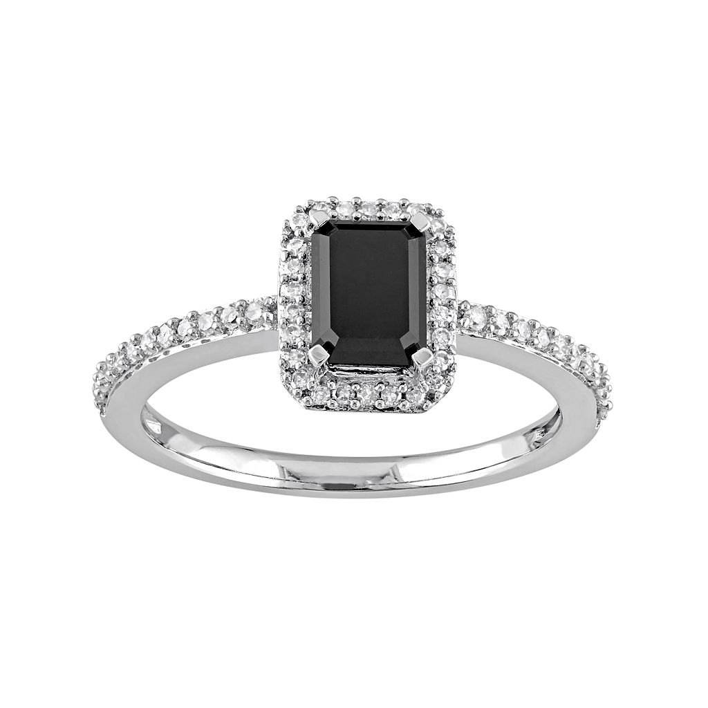 10k White Gold 1 1/5 Carat T.W. Black & White Diamond Halo Engagement Ring