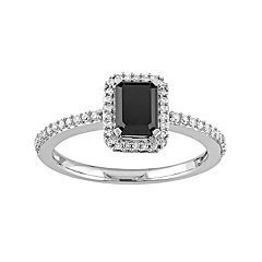 10k White Gold 1 1/5 Carat T.W. Black & White Diamond Halo Engagement Ring
