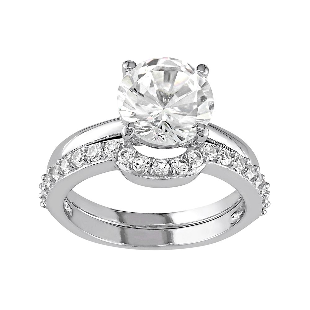 10k white gold lab created white sapphire engagement ring set - White Sapphire Wedding Rings