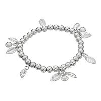 LC Lauren Conrad Leaf Charm Station Beaded Stretch Bracelet