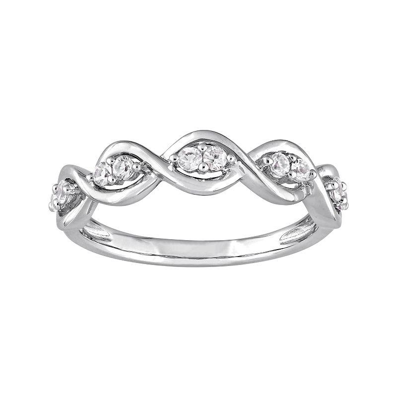Stella Grace 14k White Gold White Sapphire Wavy Ring. Women's. Size: 5