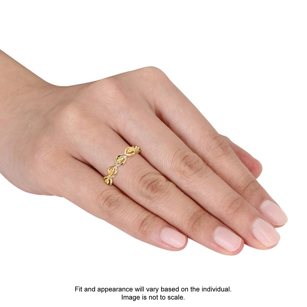 14k Gold Yellow Sapphire Wavy Ring