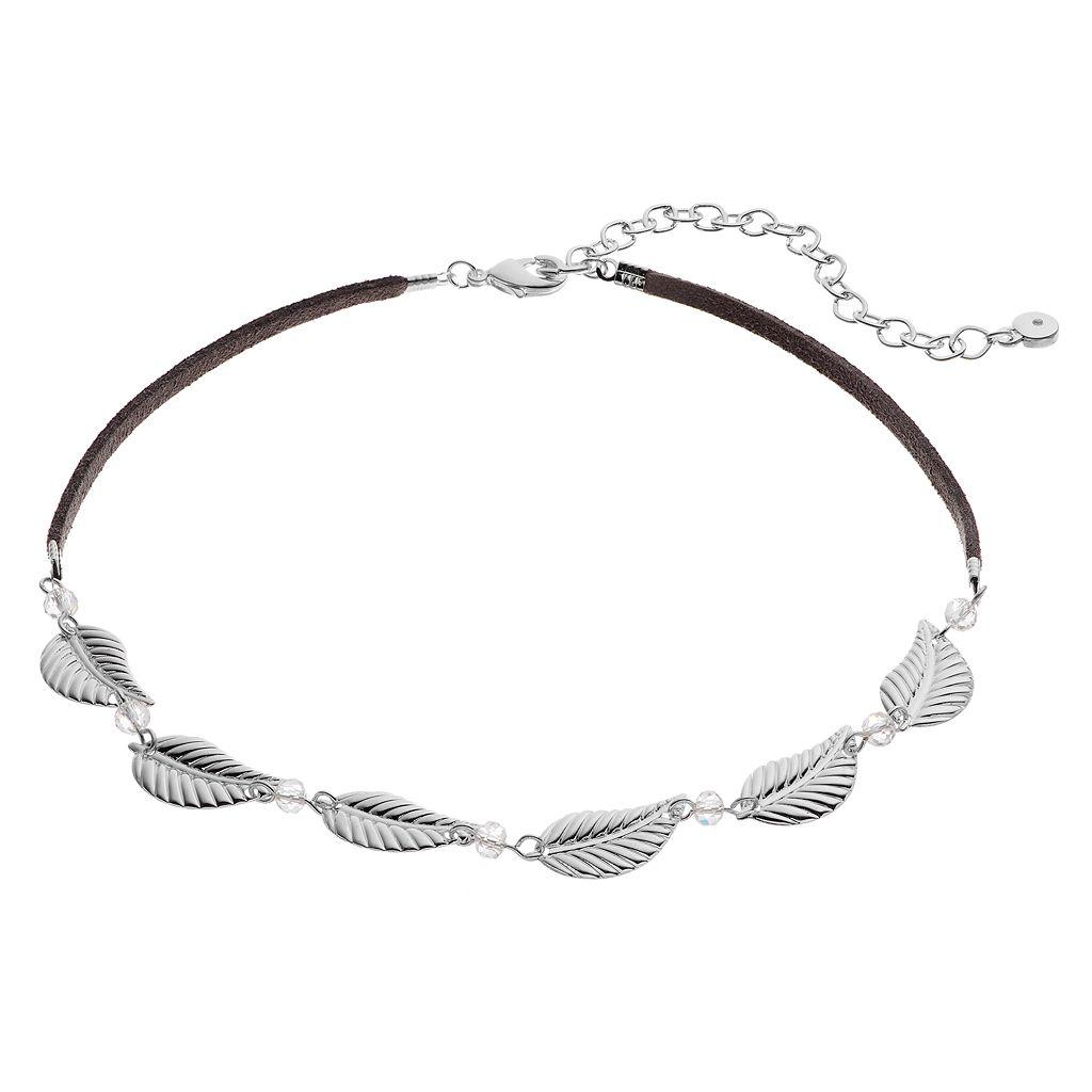 LC Lauren Conrad Leaf Link Faux Suede Choker Necklace
