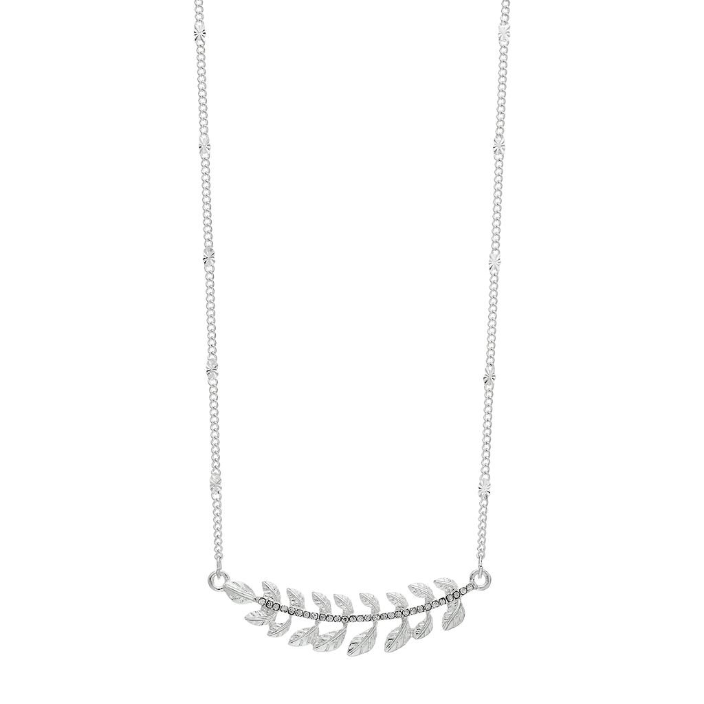 LC Lauren Conrad Leaf Curved Pave Bar Necklace