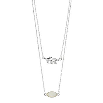 LC Lauren Conrad Leaf & Marquise Stone Layered Necklace